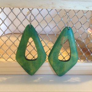 Silver Tone Green Wooden Fashion Earrings
